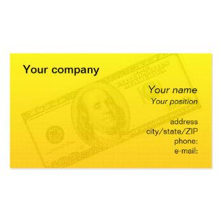 """100 dollar bill"" business card"