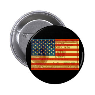 100 Dollar Flag 6 Cm Round Badge