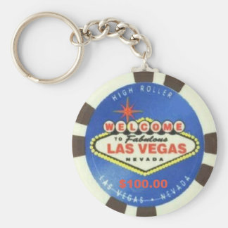 $100 Dollar Poker Chip Blue Las Vegas Keychain
