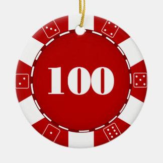 100 Dollar Poker Chip Ornament