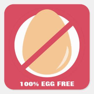 100% Egg Free Food Allergy Alert Stickers