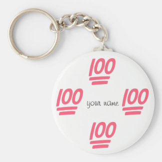 """100% Emoji  and '' Your Name Here """" Basic Round Button Key Ring"""