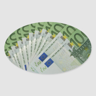 100 Euro money banknotes Oval Sticker