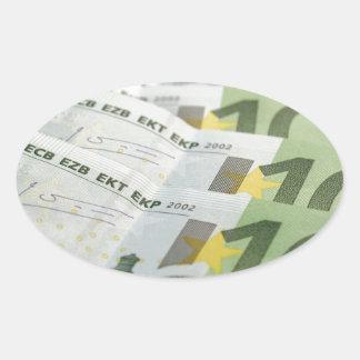 100 Euro money banknotes Oval Sticker