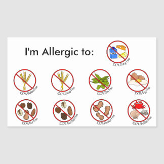 100% Food Allergy Free- Choose Your Allergy Rectangular Sticker