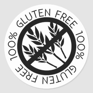100% Gluten Free No Gluten Simple Black and White Classic Round Sticker