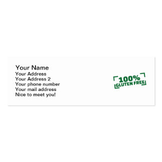 100% Gluten Free Pack Of Skinny Business Cards