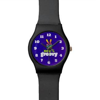 100% Groovy Rainbow Hand Peace Sign Acid Purple Watch