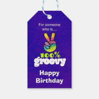 100% Groovy Rainbow Hand Peace Sign Birthday Gift Tags