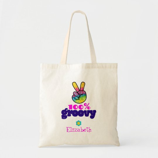 100% Groovy Rainbow Hand Peace Sign Personalised Tote