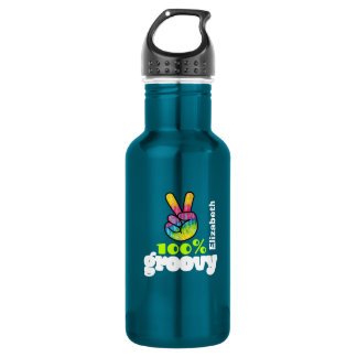 100% Groovy Rainbow with Hand Peace Sign Unique 532 Ml Water Bottle