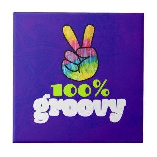 100% Groovy with Rainbow Hand Peace Sign Tile