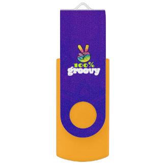 100% Groovy with Rainbow Hand Peace Sign USB Flash Drive