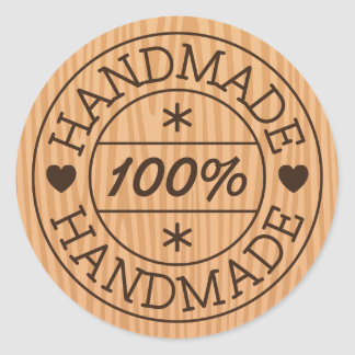 100% handmade or product name, stamp on wood classic round sticker