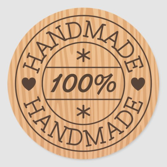 100% handmade or product name, stamp on wood