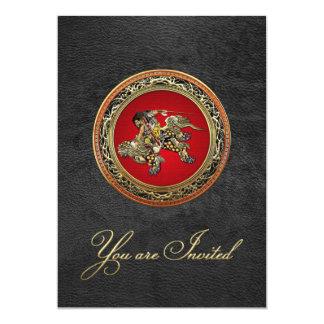 "[100] Hokusai - Shoki Riding Shishi Lion 5"" X 7"" Invitation Card"