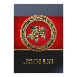[100] Hokusai - Shoki Riding Shishi Lion 13 Cm X 18 Cm Invitation Card