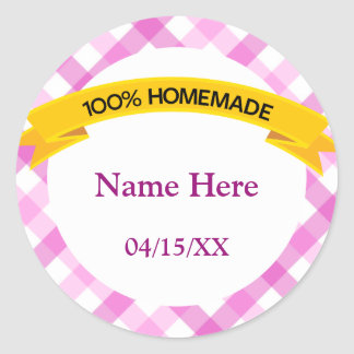 100% Homemade Food Label - Pink