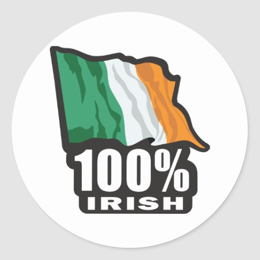 100%-IRISH CLASSIC ROUND STICKER