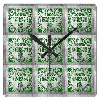 100% Irish Graffiti Wall Square Wall Clock