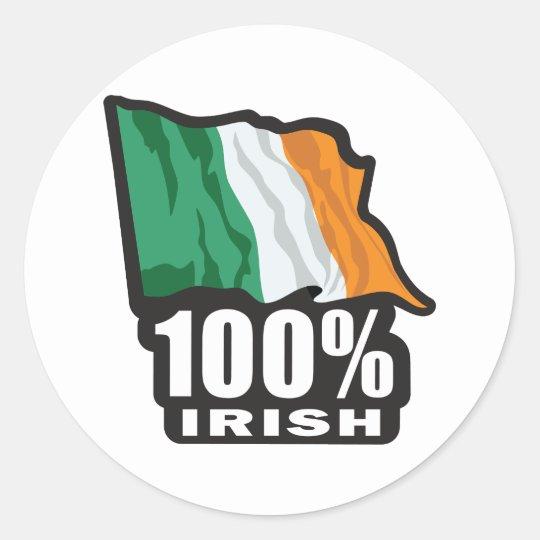 100%-IRISH ROUND STICKER