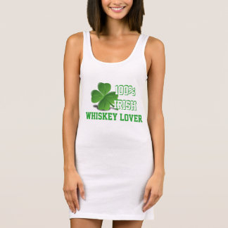 100% Irish Whiskey Lover St. Patrick's Day White Sleeveless Dress