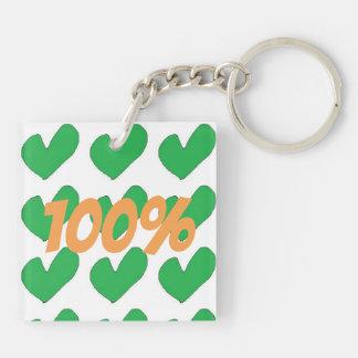 100% Irish with Green heart design Keychain