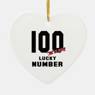 100 It's my lucky number Ceramic Heart Decoration