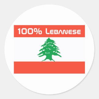 100% Lebanese Classic Round Sticker