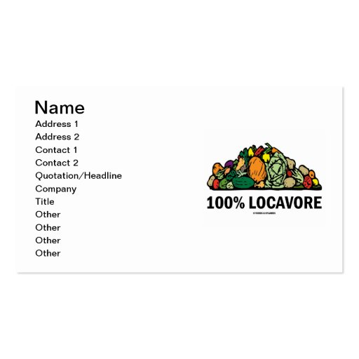 100% Locavore (Pile Of Vegetables) Business Cards