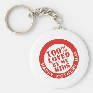 100% Loved By My Kids Basic Round Button Key Ring