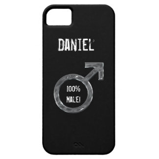 100 Male -Male Symbol Faux Metal+Name iPhone 5 Cases