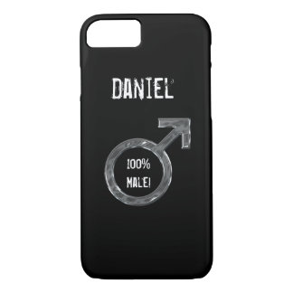 100% Male!- Symbol/Faux Metal+Name iPhone 7 Case
