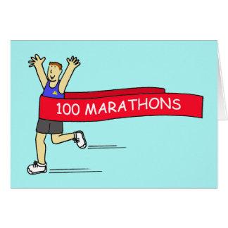 100 marathon congratulations for a male. greeting card