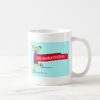 100 marathon congratulations for a male. coffee mug
