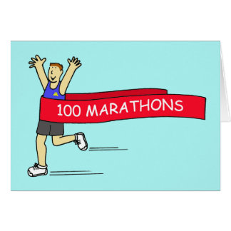 100 marathon congratulations for a male. greeting card
