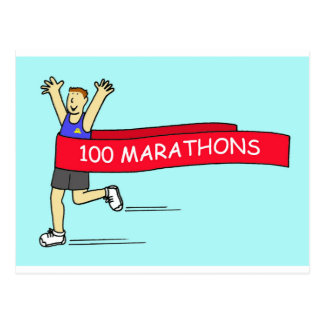 100 marathon congratulations for a male. postcard