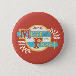 100% Meat Free Vegan 6 Cm Round Badge