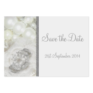 100 Mini Save the Date Cards White & Silver Jewels Business Card Template