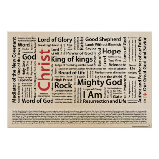 100 names of Jesus American Spelling ai Posters