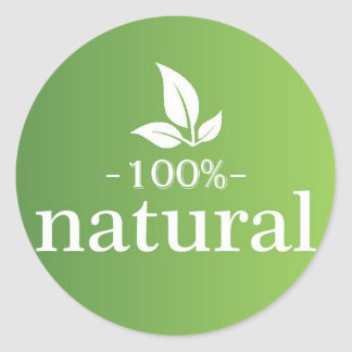 100% Natural Classic Round Sticker