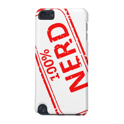 100% Nerd Rubber-stamp Red on White iPod Touch (5th Generation) Covers
