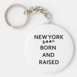 100% New York Born and Raised Basic Round Button Key Ring