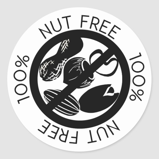 100% Nut Free No Nuts Simple Black and