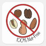 100% Nut Free (Tree nuts & Peanuts) Square Sticker