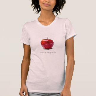 100% Organic Red Apple Abstract Design Tee Shirt