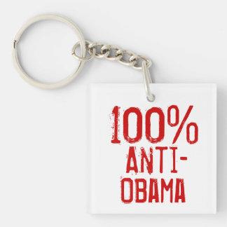 100 Percent Anti- Obama Single-Sided Square Acrylic Key Ring