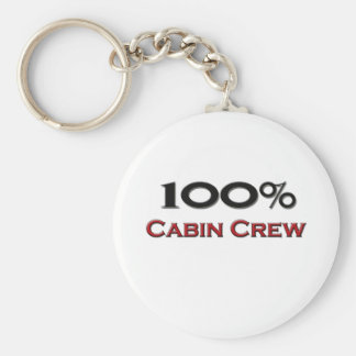 100 Percent Cabin Crew Basic Round Button Key Ring