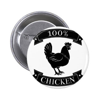 100 percent chicken food label pinback buttons