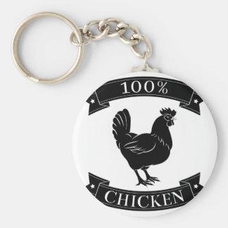 100 percent chicken food label key chain